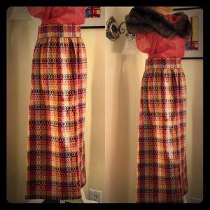 Vintage Long Warm Boucle Maxi Skirt Wide Waistband